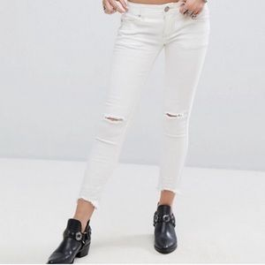 Free People Mid Rise Skinny Destroyed Ankle Jeans